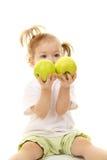 苹果女婴绿色 免版税库存照片