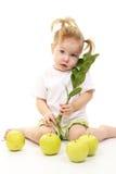 苹果女婴绿色 图库摄影