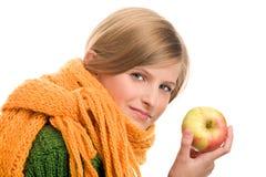 苹果女孩成熟少年 免版税库存照片