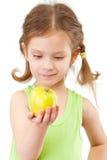 苹果小女孩的绿色 图库摄影
