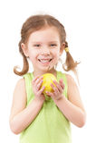 苹果小女孩的绿色 免版税图库摄影