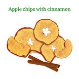 苹果干果子的传染媒介例证 切苹果芯片烘烤了可口洒与肉桂粉 库存例证