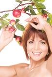 苹果愉快的枝杈妇女 库存图片