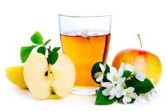苹果新鲜的玻璃汁 库存图片