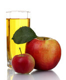 苹果新鲜的玻璃汁 库存照片