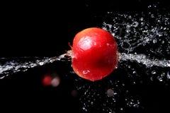 苹果新鲜的飞溅水 免版税库存照片