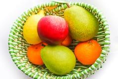 苹果柠檬空白普通话的梨 免版税库存照片