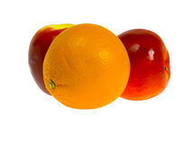苹果查出的橙色白色 库存照片