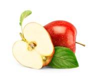 苹果查出红色白色 库存图片
