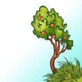 苹果树的传染媒介例证 免版税库存照片