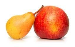 苹果梨红色成熟黄色 免版税图库摄影