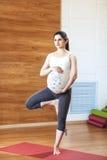 苹果概念卫生措施磁带 年轻美丽的孕妇在一条腿在体育中心做瑜伽锻炼,站立 免版税图库摄影
