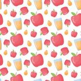苹果汁传染媒介平的样式无缝的样式 库存例证