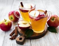 苹果汁用肉桂条 免版税库存照片