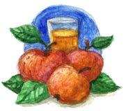 苹果汁水彩 库存图片
