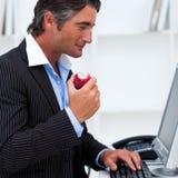 苹果生意人接近吃愉快的红色  免版税库存照片