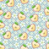 苹果的心脏,苹果计算机开花,圆点。无缝的样式 免版税库存图片