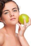 苹果秀丽特写镜头绿色纵向妇女 免版税图库摄影