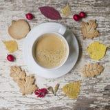 苹果秋天对光检查袋装花瓶的构成干燥叶子 花圈由干燥叶子,栗子,橡子,山楂树和伏牛花果子制成,离开咖啡曲奇饼andcup  免版税库存图片
