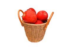 苹果篮子查出的红色白色 免版税库存照片