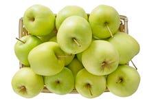 苹果篮子,绿色黄色,在白色 库存图片