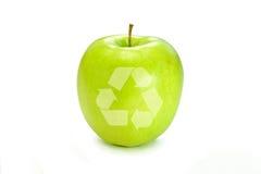 苹果绿的生活回收符号 免版税库存照片