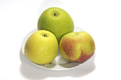 苹果绿的红色黄色 库存图片