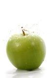 苹果绿的waterdrops 免版税库存照片