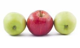 苹果绿色红色二白色 库存照片