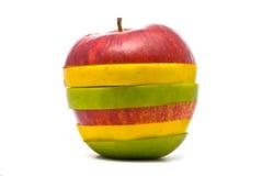 苹果绿色红色被切的黄色 库存图片