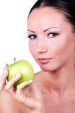 苹果美丽的绿色现有量妇女 免版税图库摄影