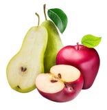 苹果背景查出的梨白色 库存图片