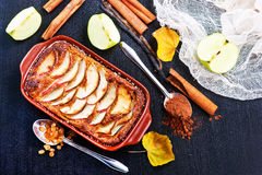 苹果背景烘烤特写镜头藏品查出显示白人妇女的饼红色 库存照片
