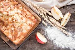 苹果背景烘烤特写镜头藏品查出显示白人妇女的饼红色 免版税库存图片