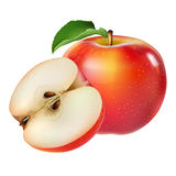 苹果背景红色白色 免版税库存照片