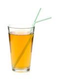 苹果背景玻璃查出的汁液白色 库存照片