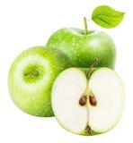 苹果背景绿色查出的白色 库存照片
