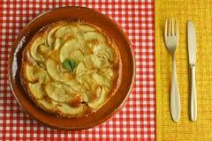 苹果蛋糕报道了果冻片式 库存图片
