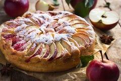 苹果蛋糕报道了果冻片式 免版税库存照片