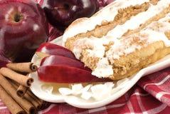 苹果蛋糕桂香咖啡结冰糖粉奶油细末 免版税库存照片