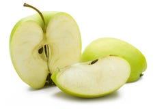 苹果被削减的绿色 免版税库存图片