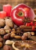 苹果计算机、坚果、桂香和干桔子 库存图片