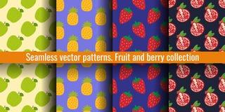 苹果计算机、菠萝、草莓和石榴石 果子无缝的样式集合 衣裳或亚麻布的食物印刷品 时尚设计 beauvoir 皇族释放例证