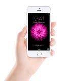 苹果计算机变成银色与锁屏幕的iPhone 5S在女性的显示 库存图片