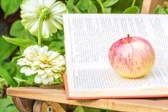 苹果计算机和书在一把木椅子在庭院里 免版税图库摄影