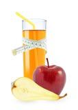 苹果计算机和梨汁液米 库存图片