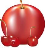 苹果计算机和樱桃 库存图片