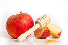 苹果计算机和蜂蜜Rosh Hashana犹太新年 库存照片