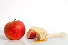苹果计算机和蜂蜜Rosh Hashana犹太新年 免版税库存照片