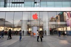 苹果计算机商店标号世界艾滋病日 免版税库存照片